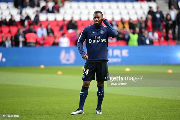 Kevin Rimane of PSG before the French Ligue 1 between Paris Saint Germain and Caen at Parc des Princes on April 16 2016 in Paris France
