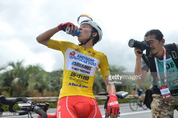 Kevin Rivera Serran from Androni Sidermec Bottecchia team at the end of the fifth and final stage after he wins the General Classement of the 2017...