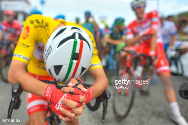 Kevin Rivera Serran from Androni Sidermec Bottecchia team, in the Yellow Leader Jersey, awaiting for the start to the fifth and final stage of the...