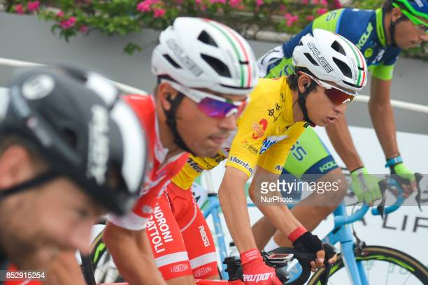 Kevin Rivera Serran from Androni Sidermec Bottecchia team, in the Yellow Leader Jersey, during the start to the fifth and final stage of the 2017...