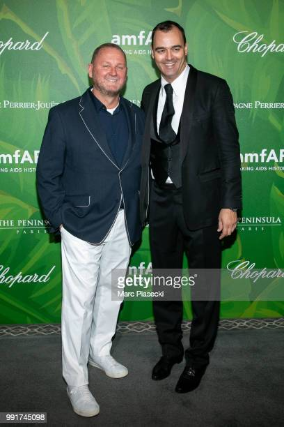 Kevin Robert Frost and Milutin Gatsby attend the amfAR Paris Dinner 2018 at The Peninsula Hotel on July 4 2018 in Paris France