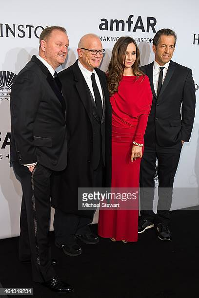 Kevin Robert Frost Bill Roedy Alexandra Roedy and Kenneth Cole attend the 2015 amfAR New York Gala at Cipriani Wall Street on February 11 2015 in New...