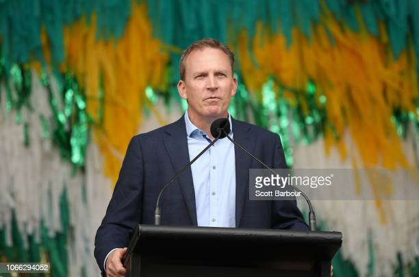 Kevin Roberts, CEO of Cricket Australia speaks during the Australian Women's T20 Squad Celebration Event at Federation Square on November 29, 2018 in...