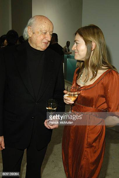 Kevin Roche and Sarah Walker attend Corban Walker Grid Stack Opening Reception at PaceWildenstein on February 2 2007 in New York City