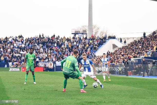 Kevin Rodrigues and Adnan Januzaj during La Liga match between CD Leganes and Real Sociedad at Butarque on February 02 2020 in Leganes Spain
