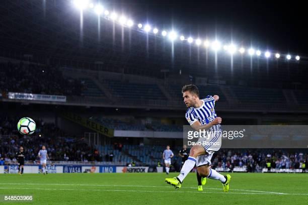 Kevin Rodrigues of Real Sociedad de Futbol shoots towards goal during the La Liga match between Real Sociedad and Real Madrid at Anoeta stadium on...