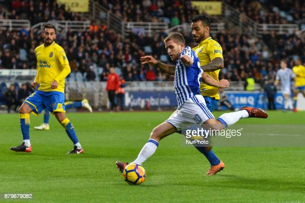 Kevin Rodrigues of Real Sociedad duels for the ball with Bigas of U D Las Palmas during the Spanish league football match between Real Sociedad and U...