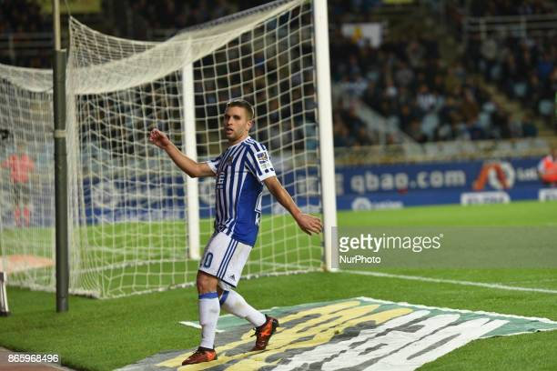 Kevin Rodrigues of Real Sociedad during the Spanish league football match between Real Sociedad and Espanyol at the Anoeta Stadium on 23 October 2017...