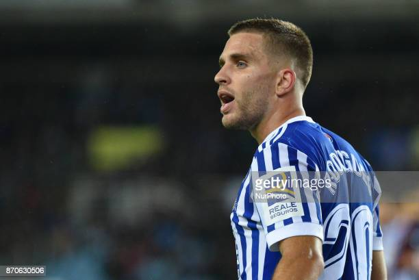 Kevin Rodrigues of Real Sociedad during the Spanish league football match between Real Sociedad and Eibar at the Anoeta Stadium on 5 November 2017 in...
