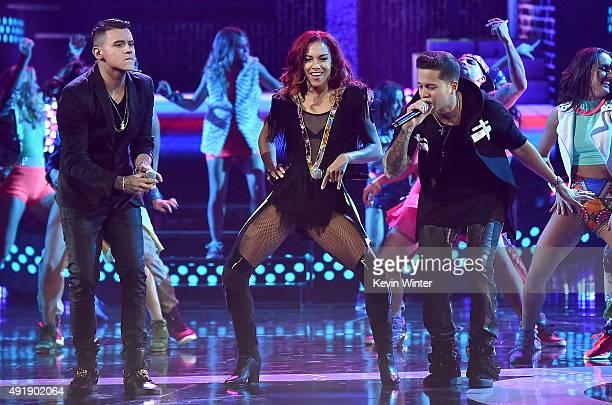 Kevin Roldan Natalie La Rose and Rafael Castillo aka De La Ghetto perform onstage during Telemundo's Latin American Music Awards at the Dolby Theatre...