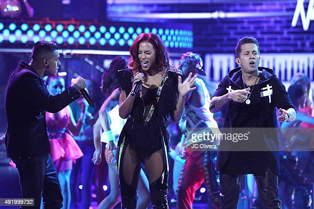 Kevin Roldan Natalie La Rose and Rafael Castillo aka De La Ghetto perform onstage during Telemundo's Latin American Music Awards 2015 at Dolby...