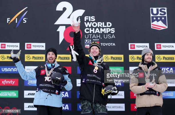 Kevin Rolland of France in second place Aaron Blunck of the United States in first place and Noah Bowman of Canada in third place celebrate on the...
