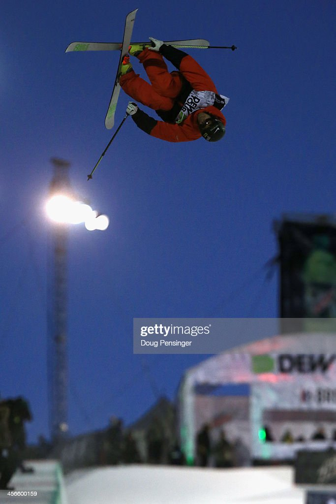 Kevin Rolland of France skis to eighth place in the men's ski superpipe final at the Dew Tour iON Mountain Championships on December 14, 2013 in Breckenridge, Colorado.