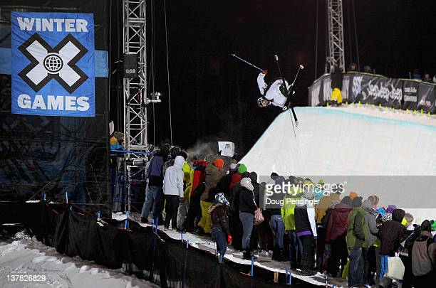 Kevin Rolland of France spins above the pipe during men's ski superpipe eliminations during Winter X Games 2012 at Buttermilk Mountain on January 27...