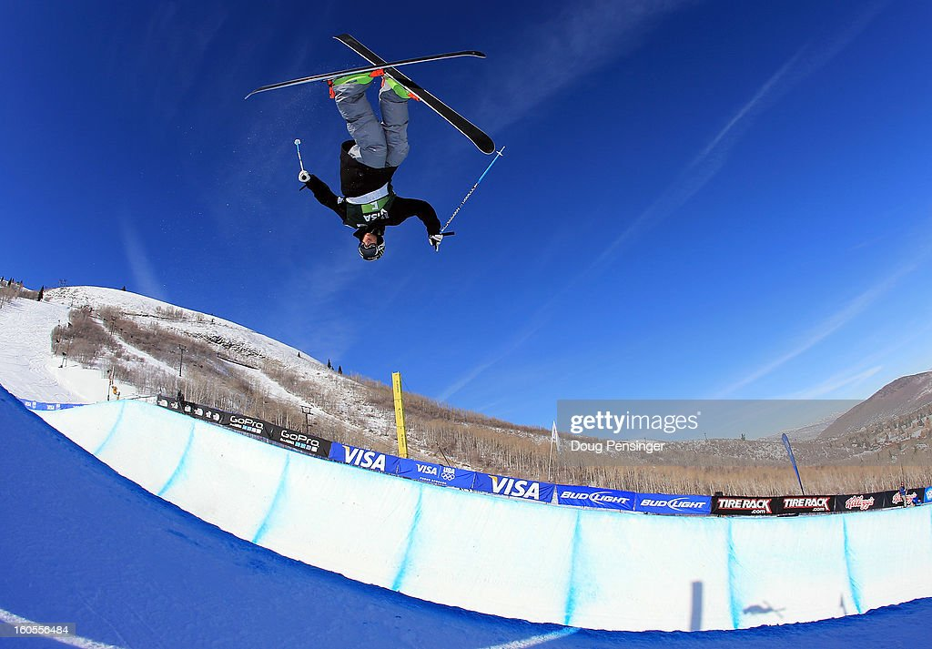 Kevin Rolland of France takes a practice run prior to the finals of the FIS Freestyle Ski Halfpipe World Cup during the Sprint U.S. Grand Prix at Park City Mountain on February 2, 2013 in Park City, Utah. Rolland went on to finish third.