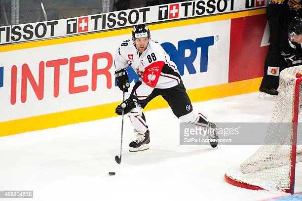 Kevin Romy of Geneve Servette during the Champions Hockey League round of 16 second leg game between SaiPa Lappeenranta and Geneve-Servette at...