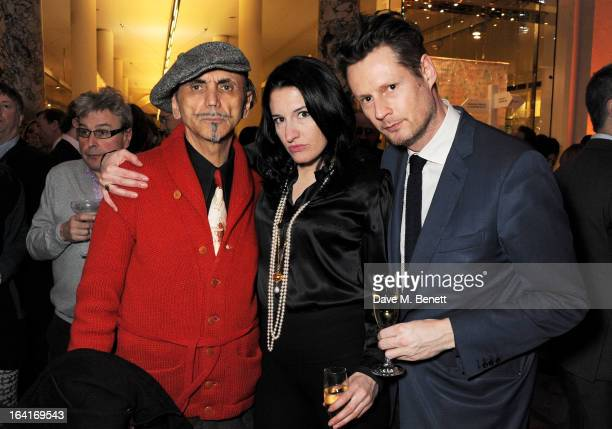 Kevin Rowland Amy Molyneaux and Percy Parker attend the private view for the 'David Bowie Is' exhibition in partnership with Gucci and Sennheiser at...
