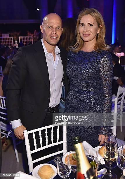 Kevin Rubenstein and Inga Rubenstein attend the 2016 amfAR New York Gala at Cipriani Wall Street on February 10 2016 in New York City
