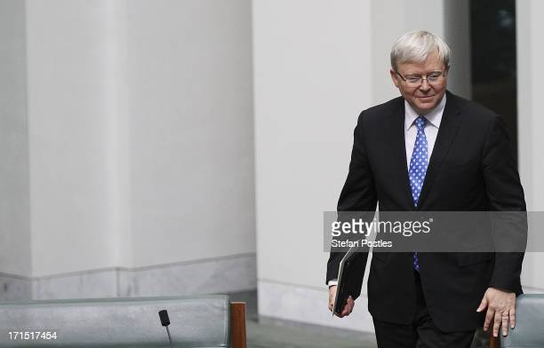 Kevin Rudd arrives during question time at Parliament House on June 26, 2013 in Canberra, Australia. It has been reported Rudd supporters are...