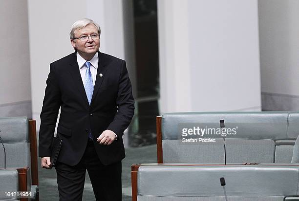 Kevin Rudd arrives for House of Representatives question time on March 21, 2013 in Canberra, Australia. Australian Prime Minister Julia Gillard has...