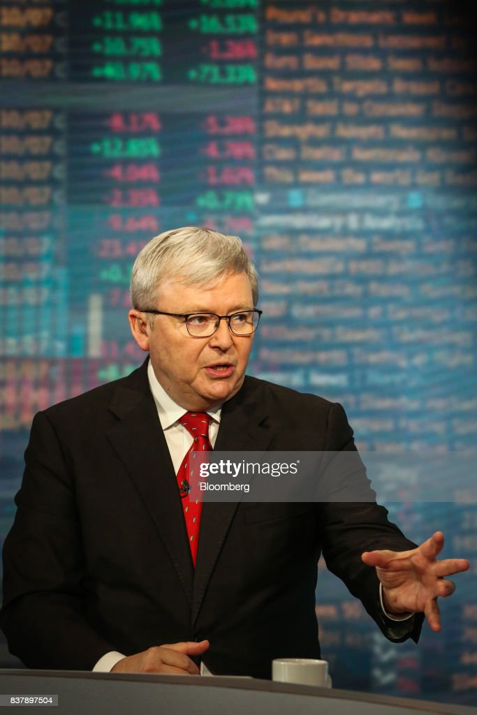 Kevin Rudd, Australia's former prime minister, speaks during a Bloomberg Television interview in New York, U.S., on Wednesday, Aug. 23. 2017. Rudd discussed President Trump's strategy in Afghanistan and what it could mean for China. Photographer: Christopher Goodney/Bloomberg via Getty Images