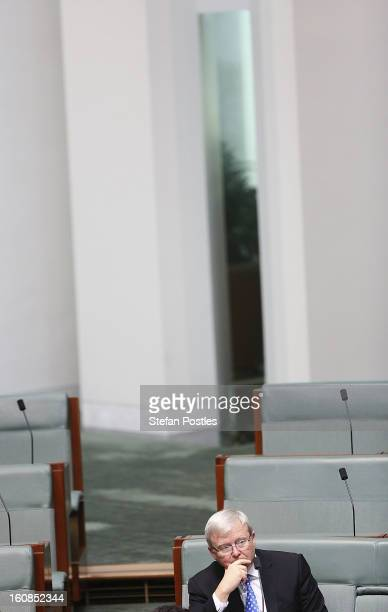 Kevin Rudd during House of Representatives question time at Parliament House on February 7 2013 in Canberra Australia Parliament resumes for the...