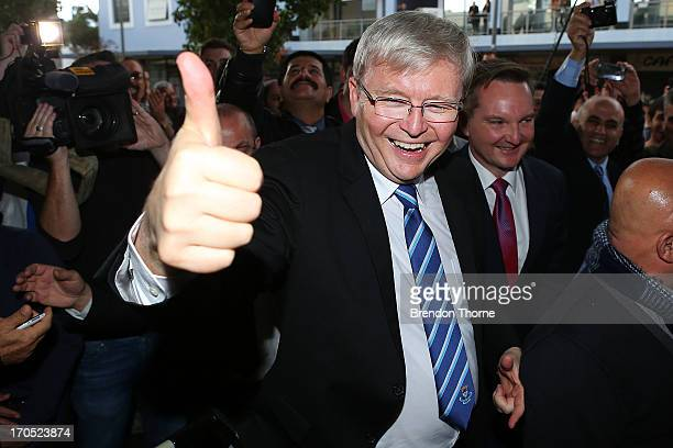 Kevin Rudd gestures to locals in the suburb of Fairfield on June 14, 2013 in Sydney, Australia. Former Prime Minister Kevin Rudd today campaigned for...