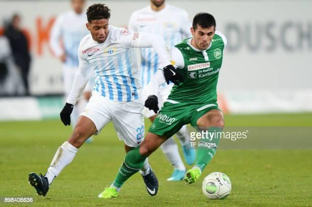 Kevin Rueegg of Zuerich and Danijel Aleksic of St Gallen battle for the ball during the Raiffeisen Super League match between FC St Gallen and FC...