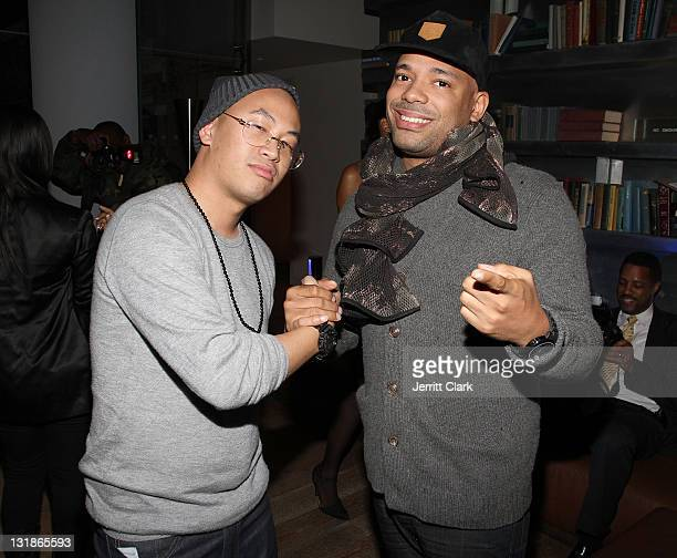 Kevin Saer Leong and DJ Mel DeBarge attend a Hennessey Black party to celebrate DJ DNice signing to Roc Nation DJ's at The Cooper Square Hotel on...