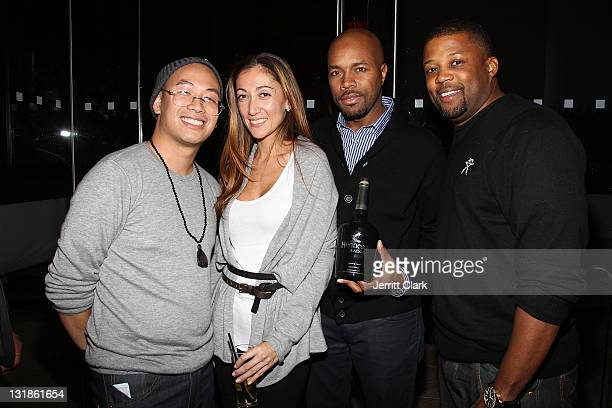 Kevin Saer Leong Jen Yu DJ DNice and Chuck Bone attend a Hennessey Black party to celebrate DJ DNice signing to Roc Nation DJ's at The Cooper Square...