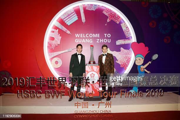 Kevin Sanjaya Sukamuljo and Marcus Fernaldi Gideon of Indonesia attend the BWF Gala Dinner at Guangzhou Garden Hotel on December 09 2019 in Guangzhou...