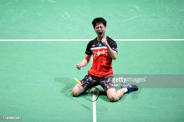 Kevin Sanjaya Sukamuljo of Indonesia celebrates in the Men's Doubles Final match after defeating Mohammad Ahsan and Hendra Setiawan of Indonesia on...