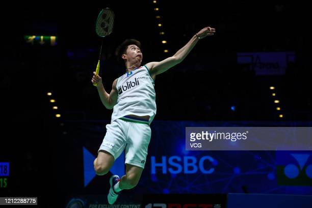 Kevin Sanjaya Sukamuljo of Indonesia competes in the Men's Doubles quarterfinal match against Aaron Chia and Soh Wooi Yik of Malaysia on day three of...
