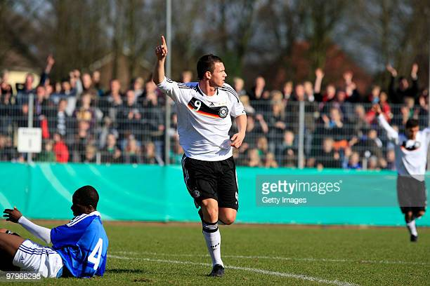 Kevin Scheidhauer of Germany celebrates during the U18 international friendly match between Germany and France at the Arena Oldenburger Muensterland...
