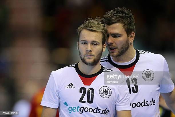Kevin Schmidt , Christoph Theuerkauf Handball Männer Weltmeisterschaft Viertelfinale : Spanien - Deutschland mens ihf handball worldchampionchip...