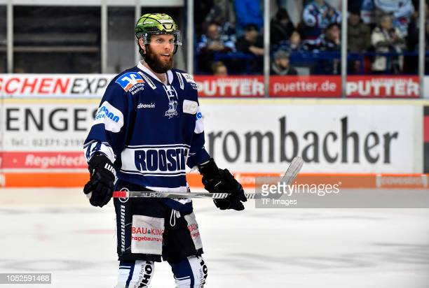 Kevin Schmidt of Iserlohn Roosters looks on during the DEL match between Iserlohn Roosters and Thomas Sabo Ice Tigers at Eissporthalle Iserlohn on...
