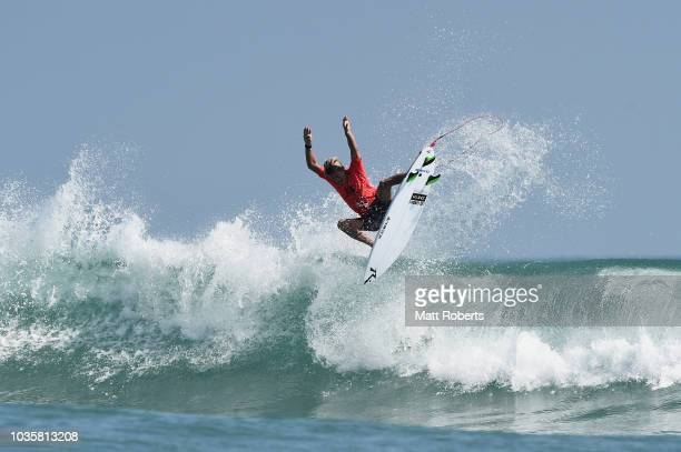Kevin Schulz of USA competes during the repercharge round of the ISA World Surfing Games at the Pacific Long Beach on September 19 2018 in Tahara...