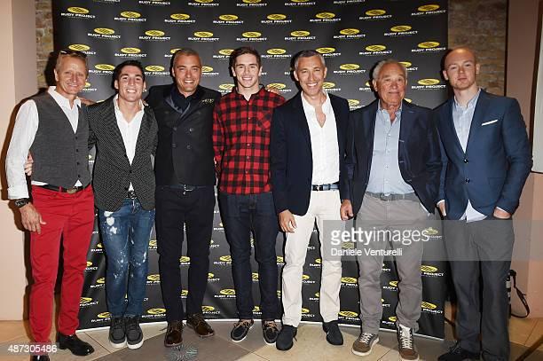 Kevin Schwantz Aleix Espargaro Simone Barbazza Scott Redding Cristiano Barbazza Rudy Barbazza and Bradley Smith attend a party for 'Rudy Project'...