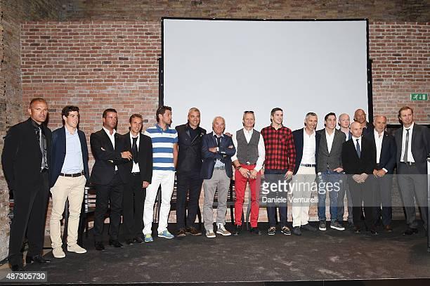 Kevin Schwantz Aleix Espargaro Simone Barbazza Scott Redding Cristiano Barbazza Rudy Barbazza Bradley Smith and guest attend a party for 'Rudy...
