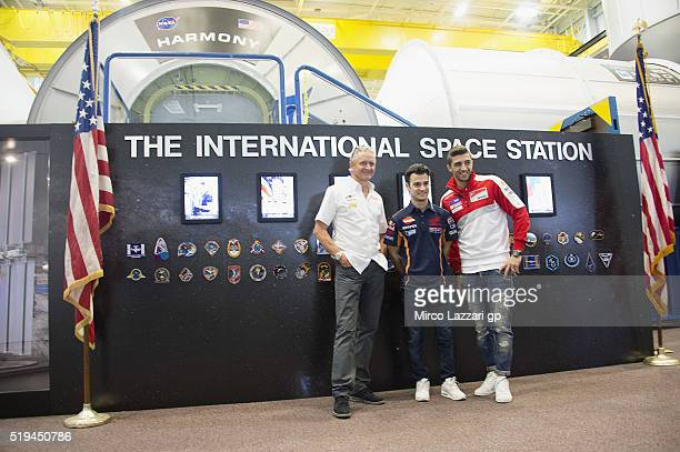 Kevin Schwanz of USA Dani Pedrosa of Spain and Repsol Honda Team and Andrea Iannone of Italy and Ducati Team pose during the preevent 'MotoGP Riders...