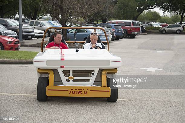 Kevin Schwanz of USA tests a space vehicle during the preevent 'MotoGP Riders Visit The NASA Johnson Space Center' at Lyndon B Johnson Space Center...