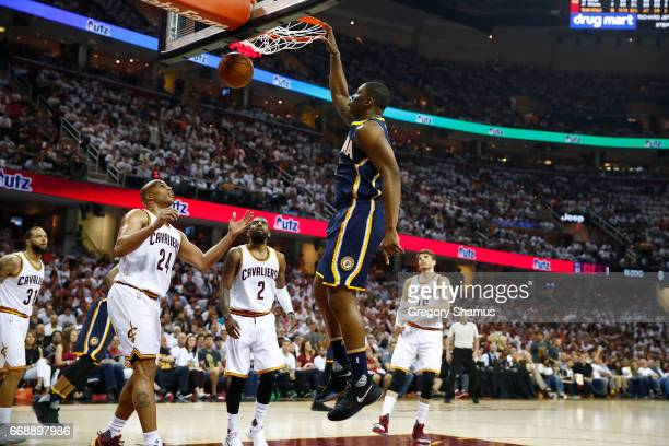 Kevin Seraphin of the Indiana Pacers gets in for a first half dunk next to Richard Jefferson of the Cleveland Cavaliers in Game One of the Eastern...