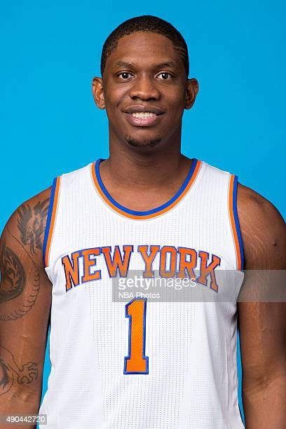 Kevin Seraphin of the New York Knicks poses for a head shot at media day at the MSG Training Facility in Greenburgh New York on September 28 2015...