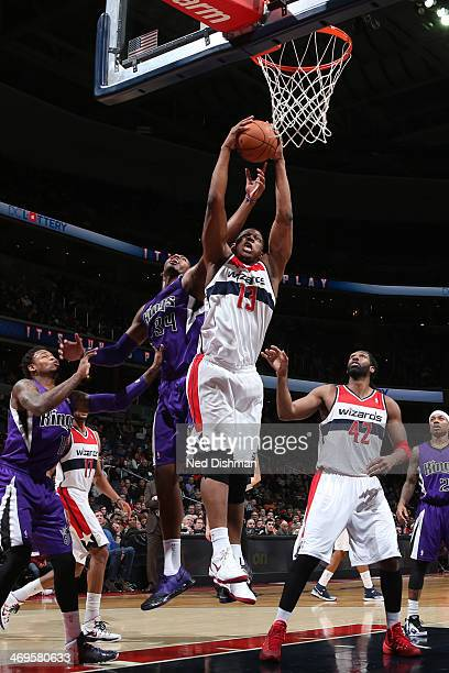 Kevin Seraphin of the Washington Wizards dunks against the Sacramento Kings at the Verizon Center on February 9 2014 in Washington DC NOTE TO USER...