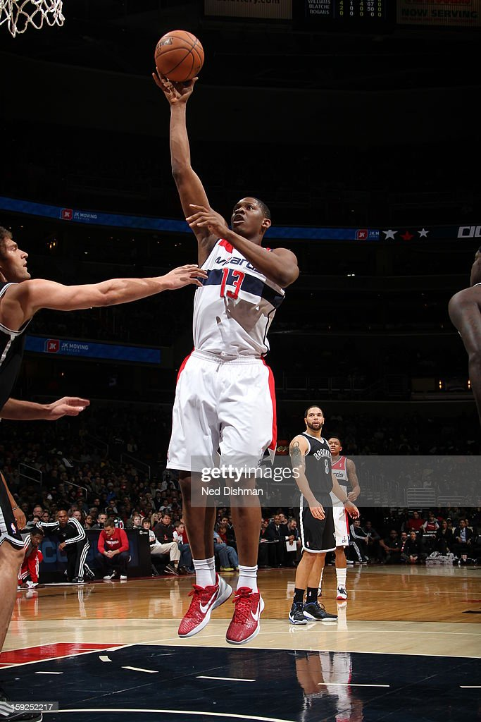 Kevin Seraphin #13 of the Washington Wizards shoots against the Brooklyn Nets on January 4, 2013 at the Verizon Center in Washington, DC.