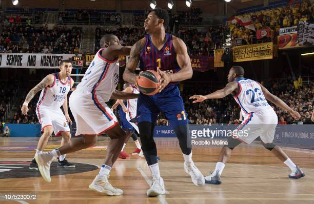Kevin Seraphine #1 of FC Barcelona Lassa in action during the 2018/2019 Turkish Airlines EuroLeague Regular Season Round 15 game between FC Barcelona...