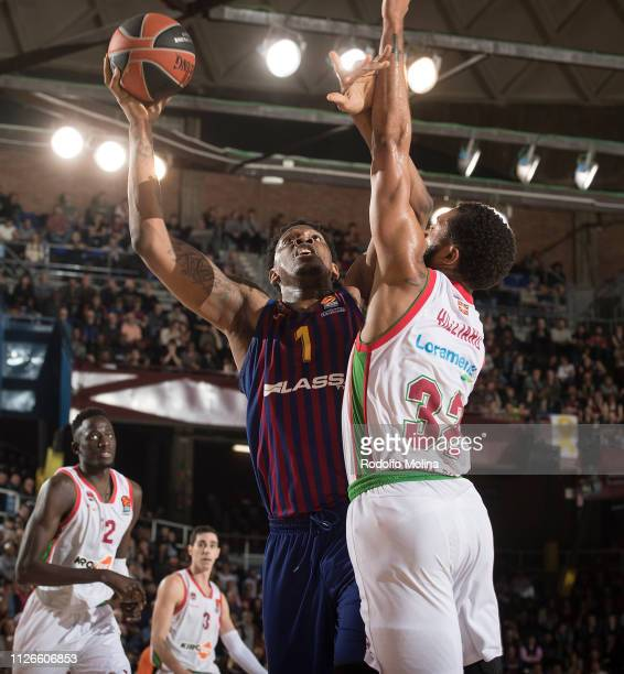 Kevin Seraphine #1 of FC Barcelona Lassa in action during the 2018/2019 Turkish Airlines EuroLeague Regular Season Round 23 game between FC Barcelona...