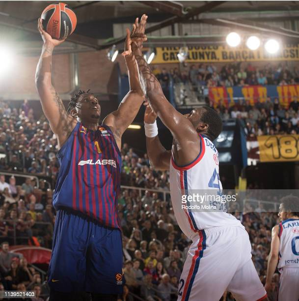 Kevin Seraphine #1 of FC Barcelona Lassa in action during the Turkish Airlines EuroLeague Play Off game 4 between FC Barcelona Lassa v Anadolu Efes...
