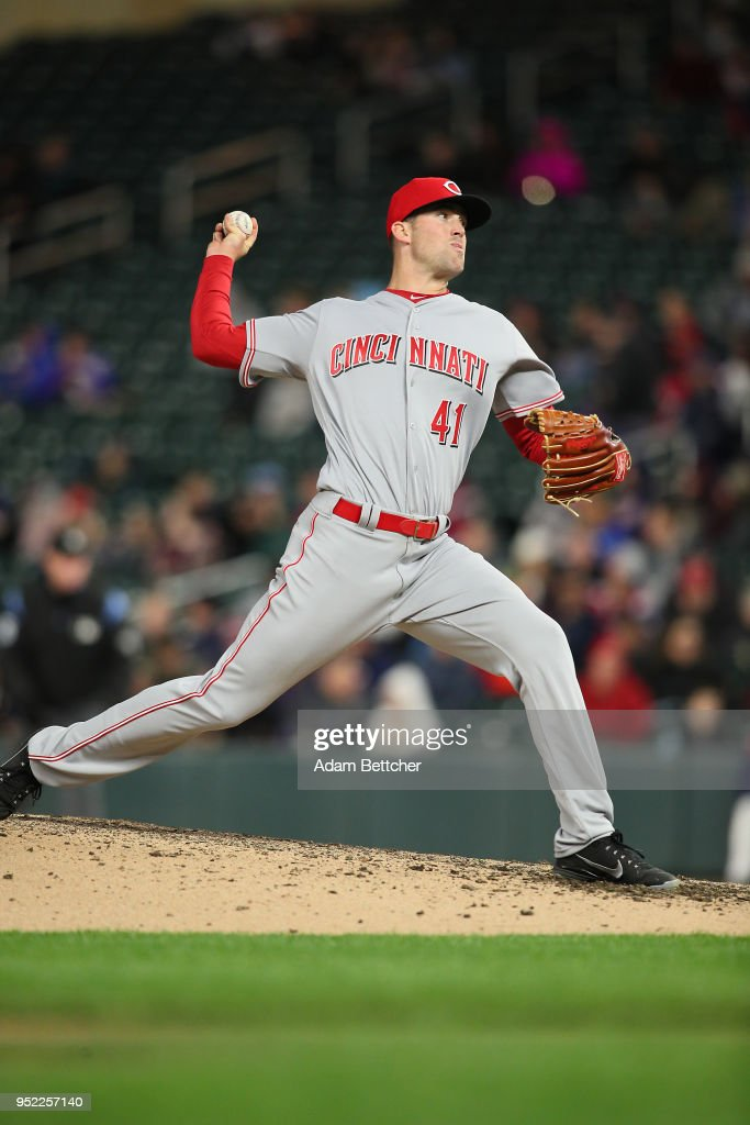 Kevin Shackelford #41 of the Cincinnati Reds pitches against the Minnesota Twins in the fourth inning at Target Field on April 27, 2018 in Minneapolis, Minnesota.