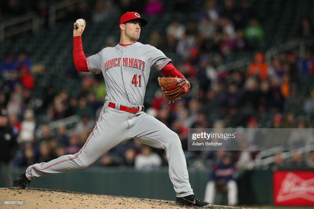 Kevin Shackelford #41 of the Cincinnati Reds pitches against the Minnesota Twins in the third inning at Target Field on April 27, 2018 in Minneapolis, Minnesota.